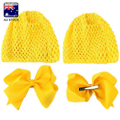 AU-STOCK Baby Girls Floral Hollow Elastic Newborn Knitting Hat Knot-bow Clip Cap