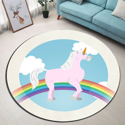 Cartoon Unicorn Round Carpet Rainbow Circles Floor Rug Cute Baby