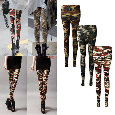 Ladies Womens Camouflage Camo Army Military Print Trousers Pants Leggings