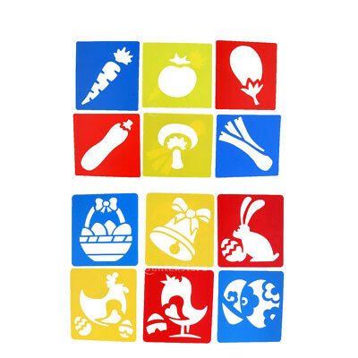 Assorted Patterns Painting Stencils Template Plastic Washable Pack of 6 for Kids