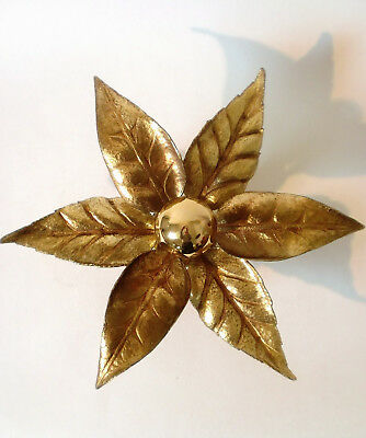 70s Wandleuchte Messing Willy Daro Lampe brass leaf sconce applique annees 70