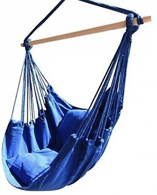 Hammock Hanging Rope Swing Porch Sky Air Chair With Stand Cushioned Seat  270 Lbs