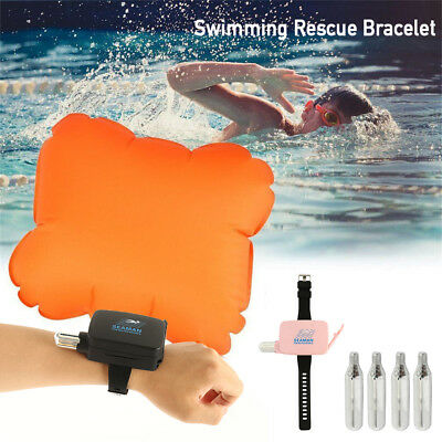 Sports Wrist Bracelet Inflatable Float Air Bag Swimming Rescue Puffer Emergency