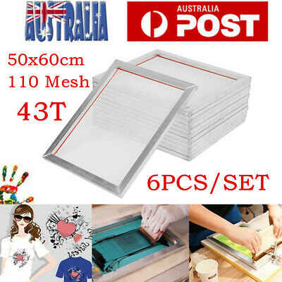6X Aluminum Alloy Silk Screen Printing Frame With 43T 110M Screen Mesh 50 x 60cm