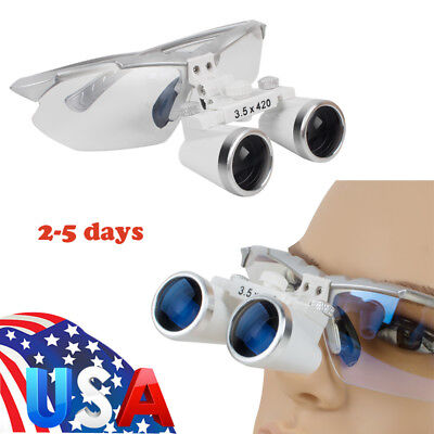 US Optical Dental Dentist Surgical Binocular Magnifier Loupes/Glasses 3.5X 420mm