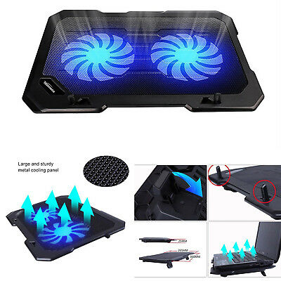 """Laptop Cooling Pad Cooler Stand Coolpad Fan Mat External 12"""" - 16"""" Inch Notepad"""