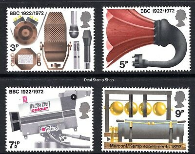 GB 1972 Broadcasting Anniversaries SG909 - 912 Complete Set Unmounted Mint