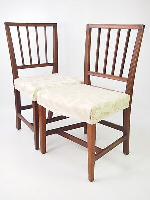 Pair Antique Georgian Mahogany Chairs - Dining Hall Kitchen Desk Side Chairs