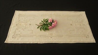 Vintage Linen Runner With Embroidery and Drawn Thread Work - Ecru