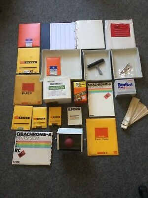 Vintage Photographic Dark Room Bundle Papers Developing Kit and Trays Light