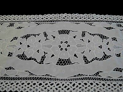 Vintage White Cut Work Lace Runner with Faggoted Tape Edging