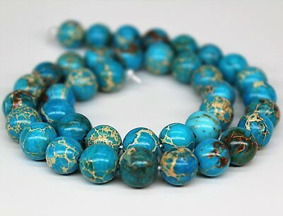 "Blue Imperial Jasper Gemstone Loose Beads 6mm 8mm 10mm Beads Per 15.5"" Strand"