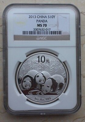 NGC MS70 China 2013 1oz Silver Regular Panda Coin