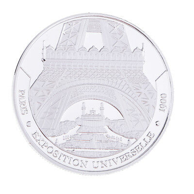 MagiDeal Sliver Eiffel Tower Lucky Commemorative Coin Toy Collectible Gift