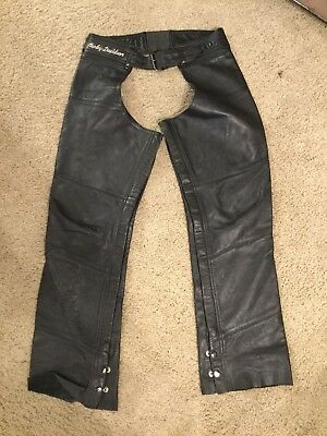HARLEY DAVIDSON Black Leather Motorcycle Chaps - Size: Womens Medium