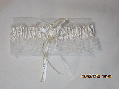 Pretty White and Ivory Colored Lace with Faux Pearls Thigh Garter One Size