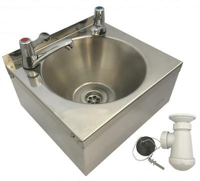 SQUID® SINK with LEVER TAPS Stainless Steel HAND WASH BASIN Waste, Plug & Trap