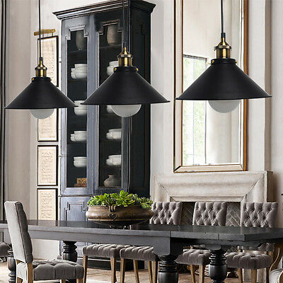 5W Retro Industrial Vintage LED Ceiling Pendant Light Shade Lamp Metal Black US