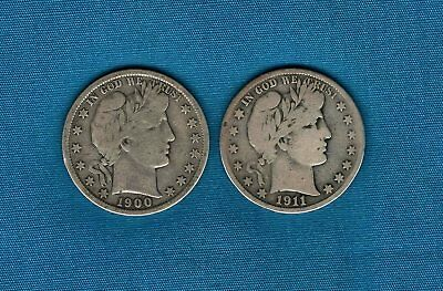 Lot of 2: 1900P and 1911S Barber Half Dollars 90% Silver Free Ship