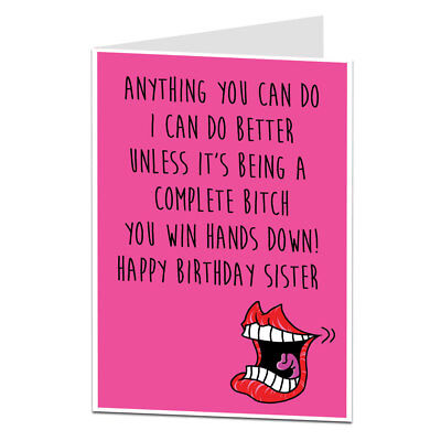 Funny Rude Happy Birthday Card For Sister Perfect For Older