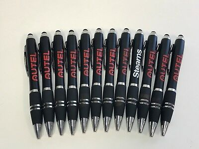 12 Lot Misprint Ink Pens w/Soft Tip Stylus for Touch Screen, Thick BLACK Barrel