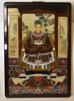 "25"" Vintage Chinese Reverse Painting on Glass Ancestor Woman Cranes Panel Decor"