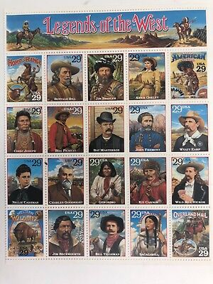 1994 USA Scott 2869 Legends of the West Sheet of 20/29c Stamps