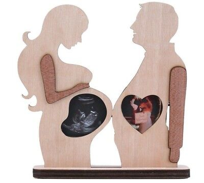 Pregnancy Wood Baby Sonogram Ultrasound Photo Picture Frame Mom Dad