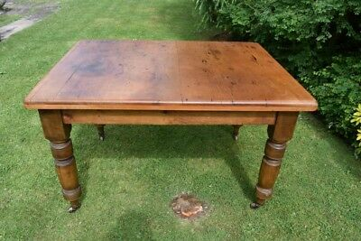 victorian pine kitchen table on Casters