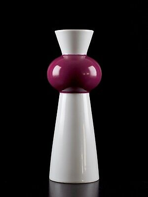 GEROLD Vintage Retro 60s 70s German Pop Art Space Age White Purple Tower Vase