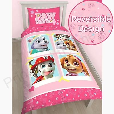 Paw Patrol Pink Girls Puffs Reversible Duvet Quilt Cover Set
