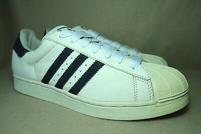 6807e54c33f9 2003 ADIDAS ORIGINALS SUPERSTAR MENS White Navy Leather Trainers UK 12 EU 47