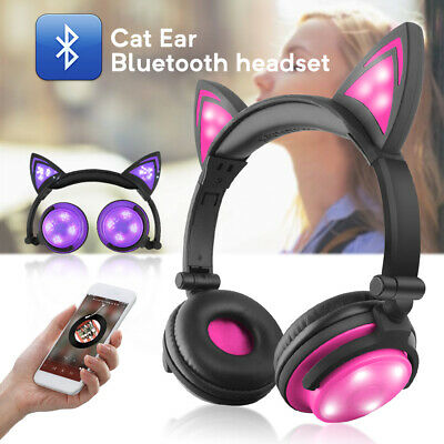 Foldable Cat Ear Bluetooth Headphones Wireless / Wired LED Glowing Music w/ Mic