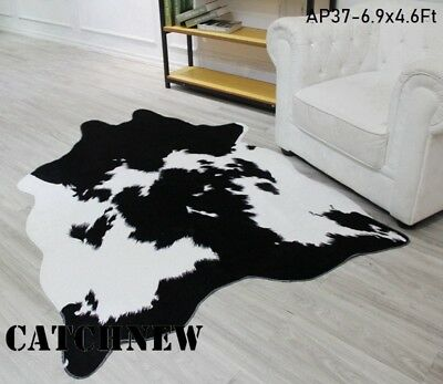 Large Black White Cow Hide Rug Cowskin Leather Carpet 6 9 X4