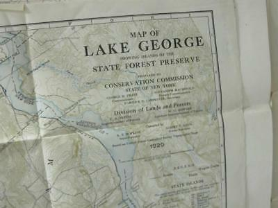 """MAP Lake George 1920 showing Island o/t State Forest Preseve  COLOR 38"""" x 16"""""""
