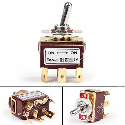 1Pcs Toowei 2 Terminal 6Pin ON-ON 15A 250V Toggle Switch Boot DPDT Grade US
