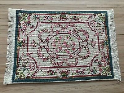 Dollhouse Miniatures - Handmade Counted X-Stitch Green Floral Pattern Rug