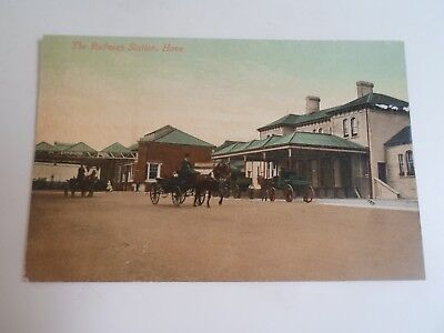 SUSSEX, Hove, The Railway Station, Good Vintage Colour Tinted Postcard    §B627
