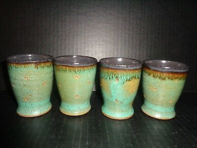 (4) Japanese UNIQUE POTTERY CUPS / TUMBLERS MARKED Mackenzie Style