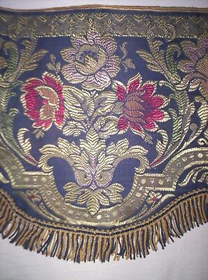 1Antique Victorian curtain Valance fringed & scalloped edge tapestrytype