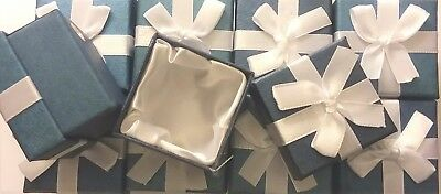 Ring Box Lot Wholesale Gift Box Set Of 10 Blue White Ribbon Bow Boxes Sale New