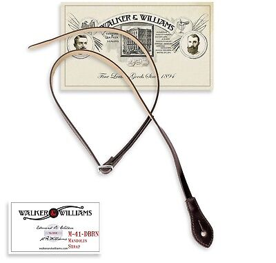 Walker & Williams M-41 Dark Brown Leather Mandolin Strap For A or F Types