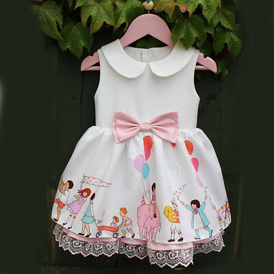 US Toddler Infant Kids Baby Girl Summer Lace Bowknot Princess Party Dresses 0-5Y