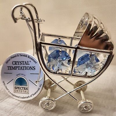Silver Plated Ornament Christening Gift Crystal Blue Baby Boy Pram