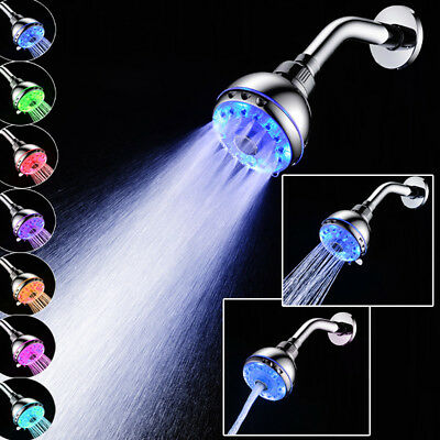 NEW RGB 7 Color Changing Light Water Bath Home Bathroom LED Shower Head Glow
