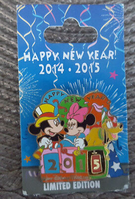 Walt Disney World Pin Happy New Year 2014 2015 Mickey Minnie Mouse Pluto LE 5000