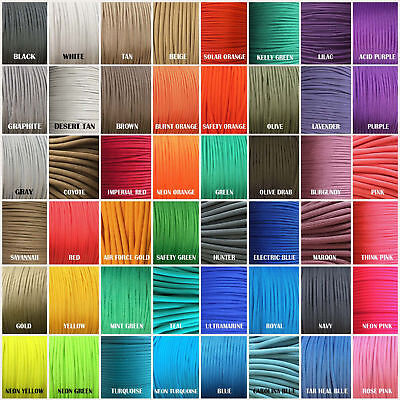 550 Paracord Type III 7 strand Parachute 10,25,50,100 ft TJPARACORD 250+ COLORS!