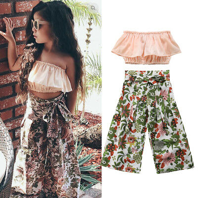 US 2018 Kid Baby Girl Tops T-shirt+Wide Leg Flared Bottom Floral Pant Outfit Set