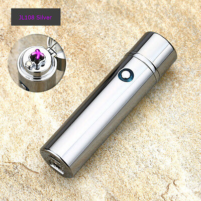 Electric Dual Arc Plasma USB Recharge Flameless Windproof Lighter JL108 Silver