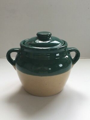 """Monmouth Pottery -- Vintage Bean Pot Green/Tan  6"""" tall with Lid"""